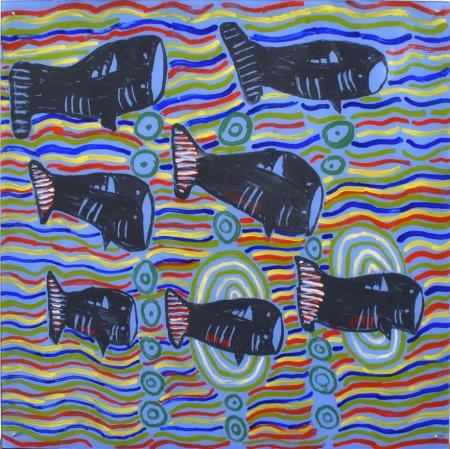 Catfish by Jennifer Dickens 60x60cm Acrylic on 3mm Polycarbonate